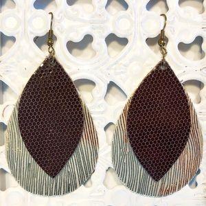 Handmade Layered Leather Earrings